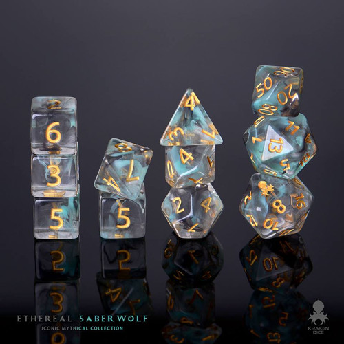 Ethereal SaberWolf 12pc Gold Ink Dice Set With Kraken Logo
