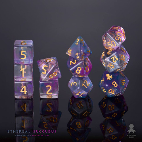 Ethereal Succubus 12pc Gold Ink Dice Set With Kraken Logo