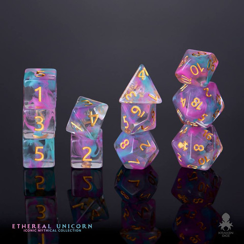 Ethereal Unicorn 12pc Gold Ink Dice Set With Kraken Logo