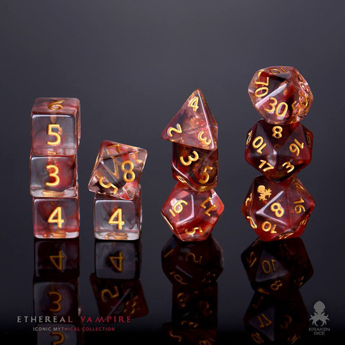 Ethereal Vampire 12pc Gold Ink Dice Set With Kraken Logo