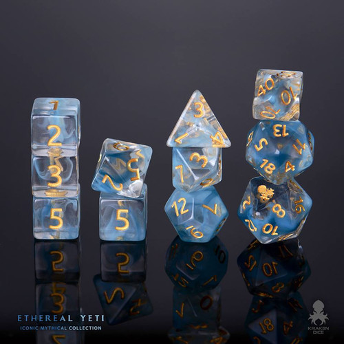 Ethereal Yeti 12pc Gold Ink Dice Set With Kraken Logo