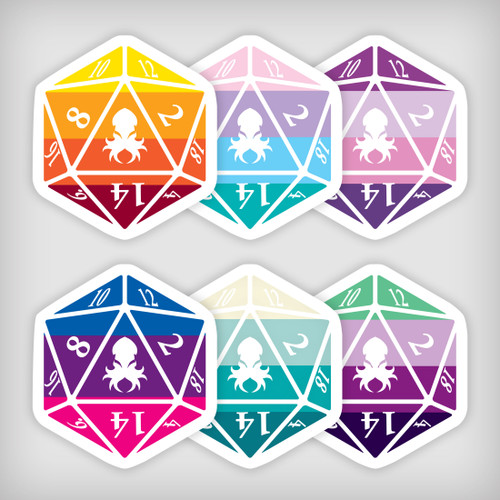 Mythical Iconic Sticker Pack 1 Kraken Logo D20 Stickers