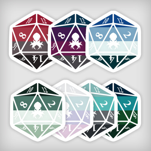 Mythical Iconic Sticker Pack 2 Kraken Logo D20 Stickers