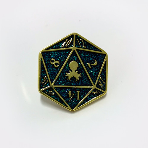 D20 Holo Glitter Pin with logo