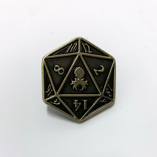 D20 logo pin brass