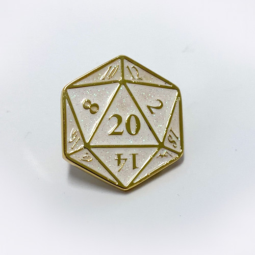 D20 pin with white with holo glitter.