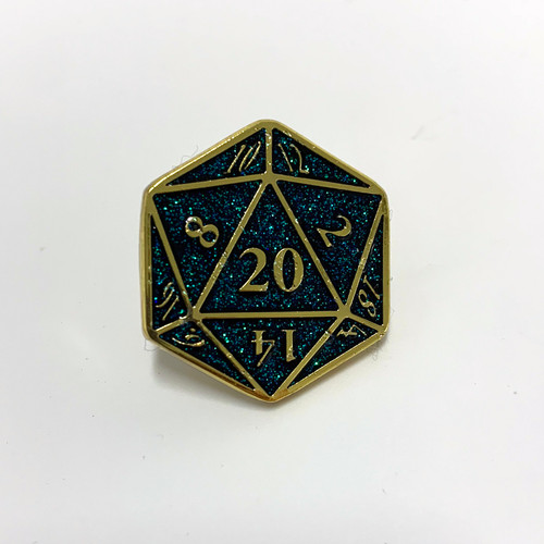D20 pin black holo glitter.