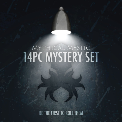 Mystery Mythical Mystic Silver Ink 14pc Dice Set With Kraken Logo