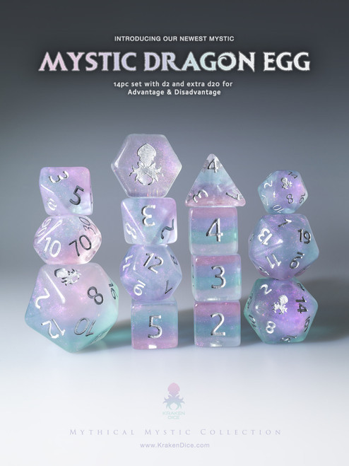 Mystic Dragon Egg 12pc Silver Ink Dice Set With Kraken Logo