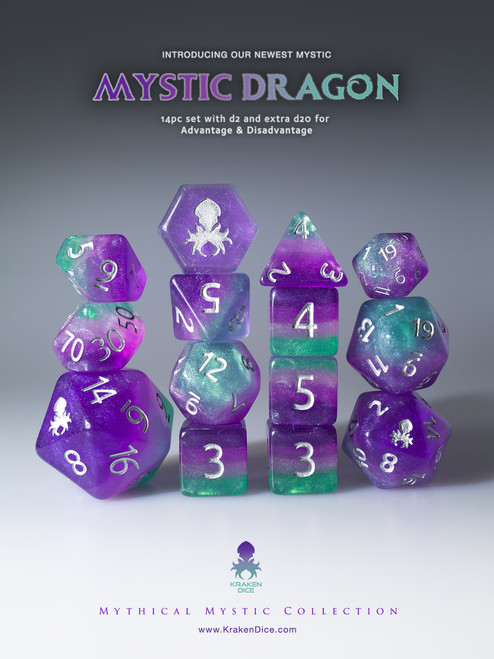 Mystic Dragon 12pc Silver Ink Dice Set With Kraken Logo