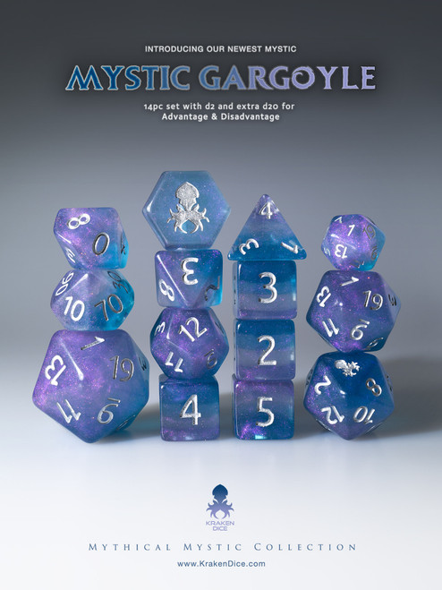 Mystic Gargoyle 12pc Silver Ink Dice Set With Kraken Logo