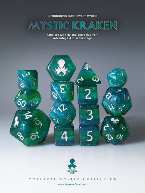 Mystic Kraken 12pc Silver Ink Dice Set With Kraken Logo