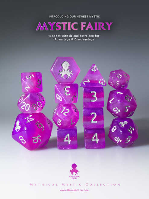 Mystic Fairy 12pc Silver Ink Dice Set With Kraken Logo