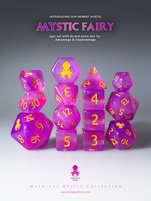 Mystic Fairy 12pc Gold Ink Dice Set With Kraken Logo