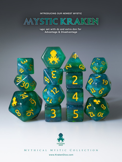 Mystic Kraken 12pc Gold Ink Dice Set With Kraken Logo
