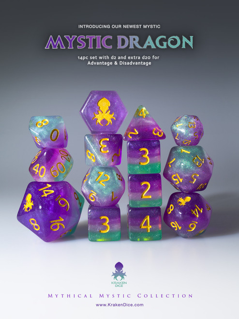 Mystic Dragon 12pc Gold Ink Dice Set With Kraken Logo