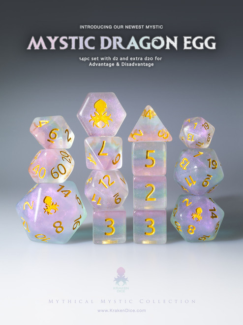 Mystic Dragon Egg 12pc Gold Ink Dice Set With Kraken Logo