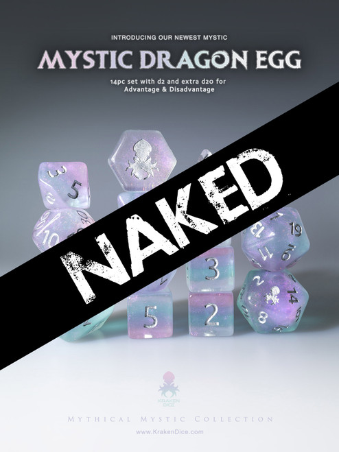 Naked Mystic Dragon Egg 14pc Dice Set With Kraken Logo