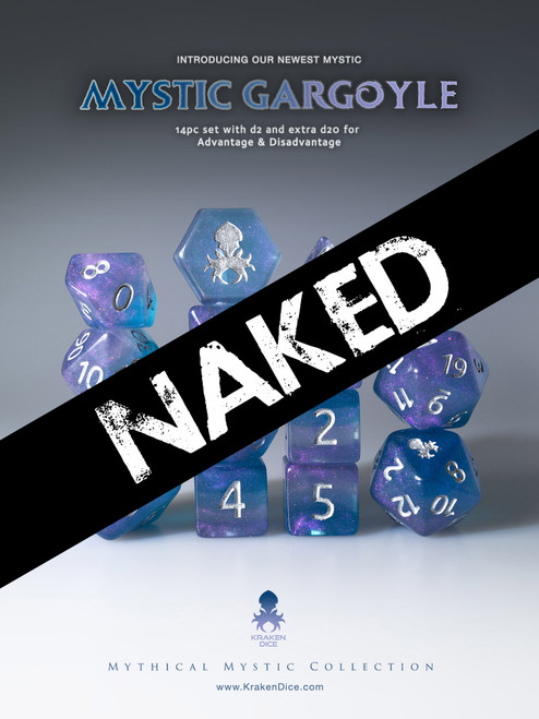 Naked Mystic Gargoyle 14pc Dice Set With Kraken Logo