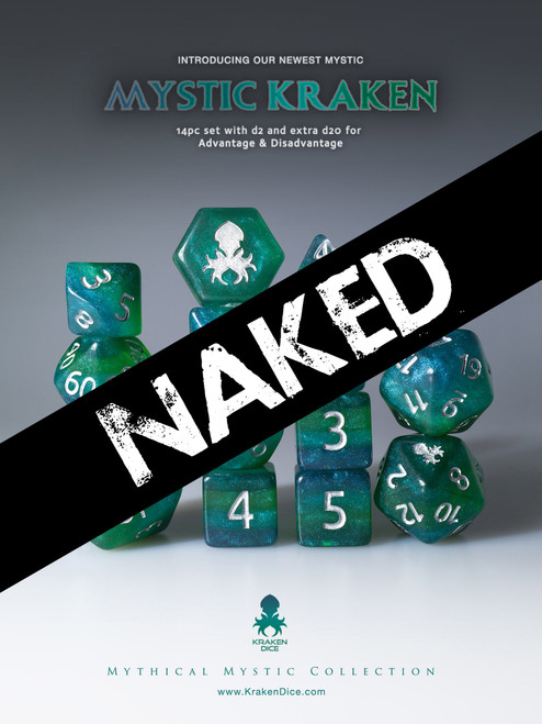 Naked Mystic Kraken 14pc Dice Set With Kraken Logo
