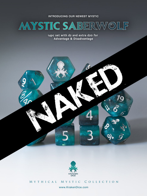 Naked Mystic SaberWolf 14pc Dice Set With Kraken Logo