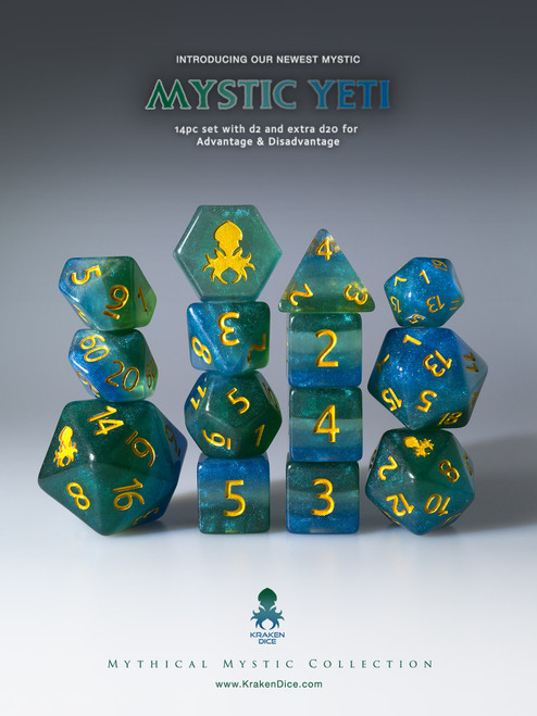 Mystic Yeti 12pc Gold Ink Dice Set With Kraken Logo