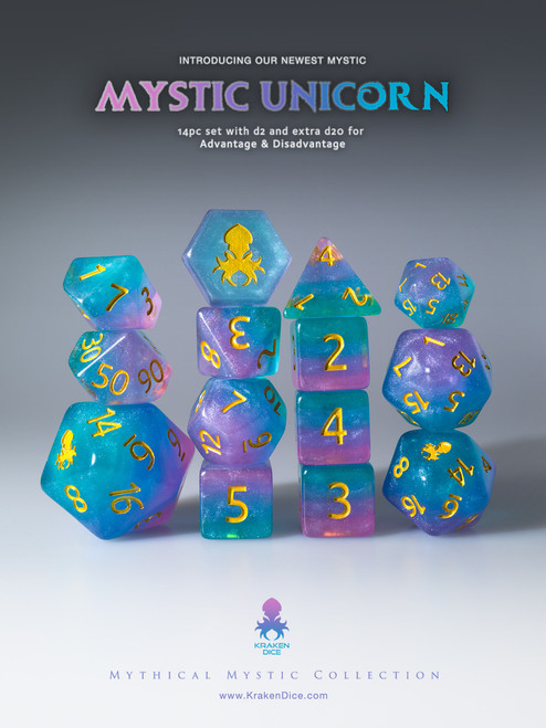 Mystic Unicorn 12pc Gold Ink Dice Set With Kraken Logo