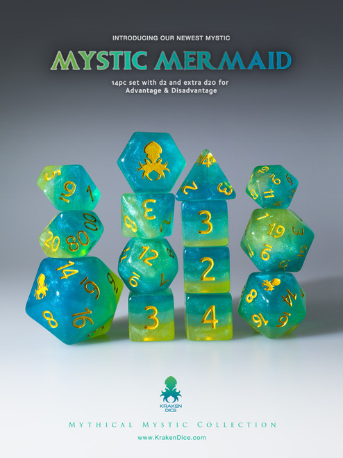 Mystic Mermaid 12pc Gold Ink Dice Set With Kraken Logo