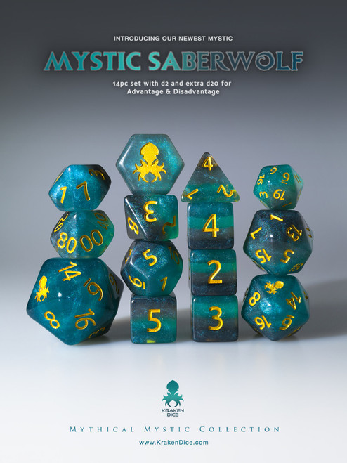 Mystic SaberWolf 12pc Gold Ink Dice Set With Kraken Logo