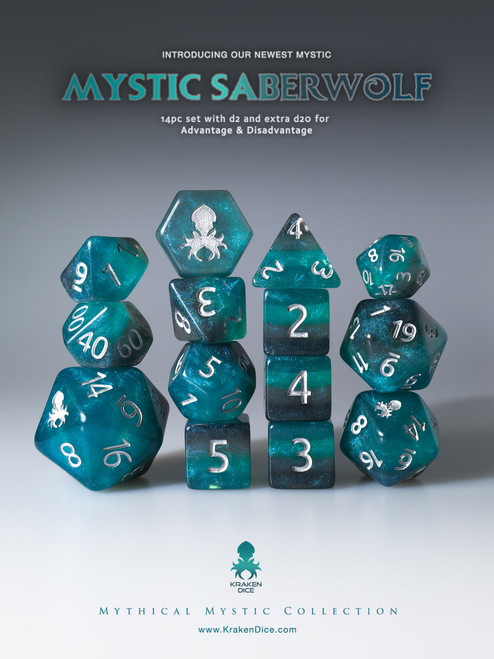 Mystic SaberWolf 12pc Silver Ink Dice Set With Kraken Logo