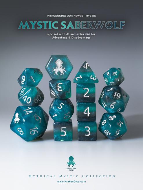Mystic SaberWolf 12pc Silver Ink Dice Set With Kraken Logo