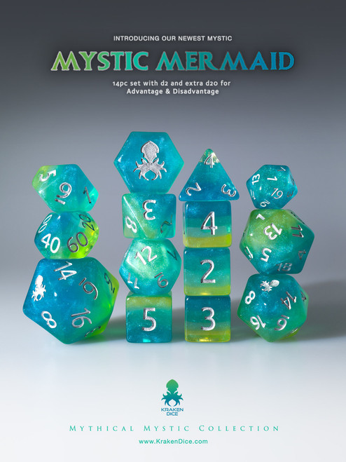 Mystic Mermaid 12pc Silver Ink Dice Set With Kraken Logo