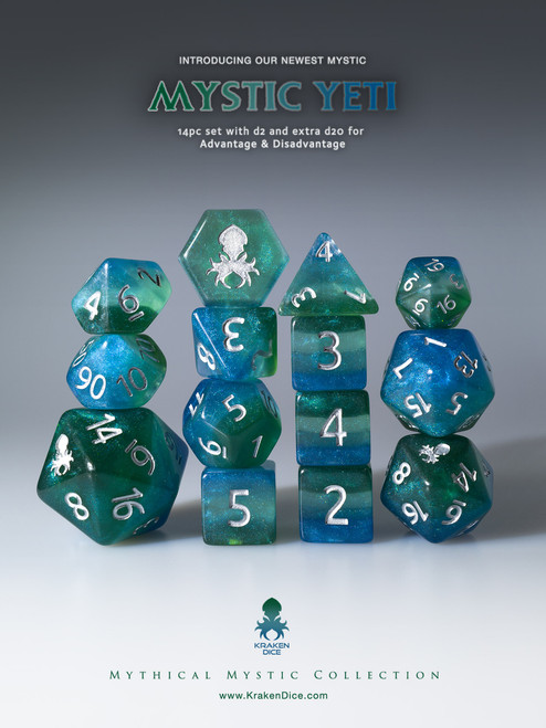 Mystic Yeti 12pc Silver Ink Dice Set With Kraken Logo