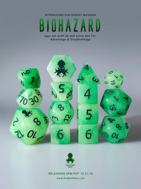Biohazard 12pc Glow in the Dark Kraken Logo with Green Ink for RPGs