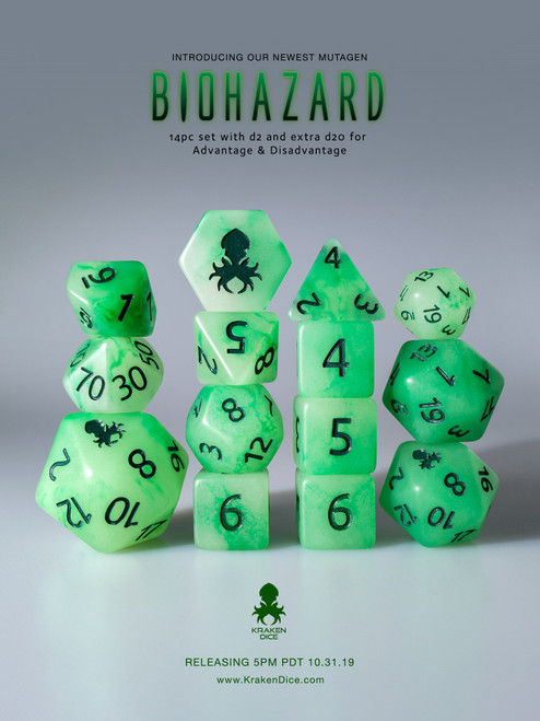 Biohazard 12pc Glow in the Dark Kraken Logo with Green Ink for RPGs