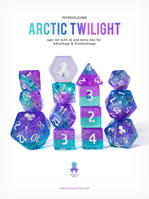 Arctic Twilight 12pc DnD Dice Set With Kraken Logo