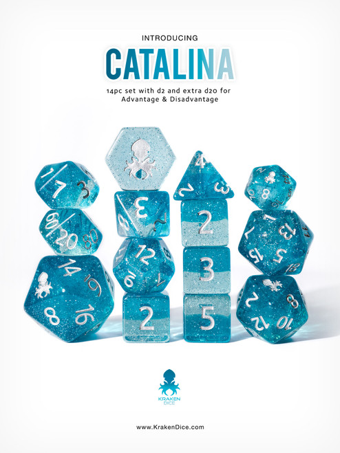 Catalina 12pc Dice Set With Kraken Logo for TTRPGs