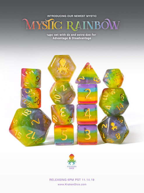 Mystic Rainbow 12pc Gold Ink Dice Set With Kraken Logo for TTRPGs