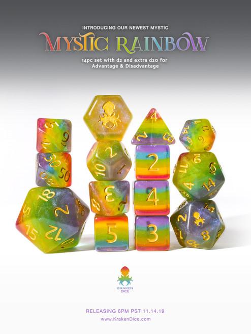 Mystic Rainbow 12pc Gold Ink Dice Set With Kraken Logo for TTRPGs