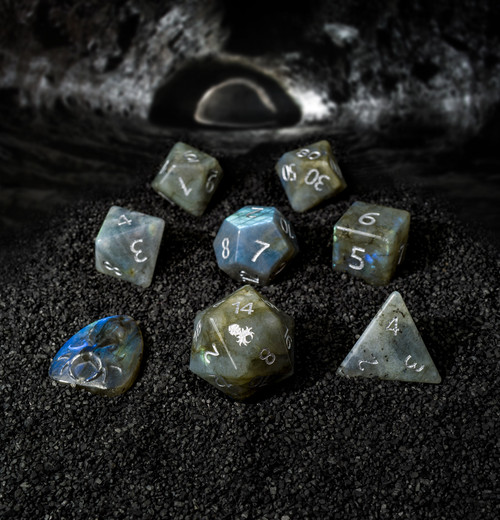 Labradorite Semi-Precious 8 pc Glass Dice Set with Kraken Logo for RPGs