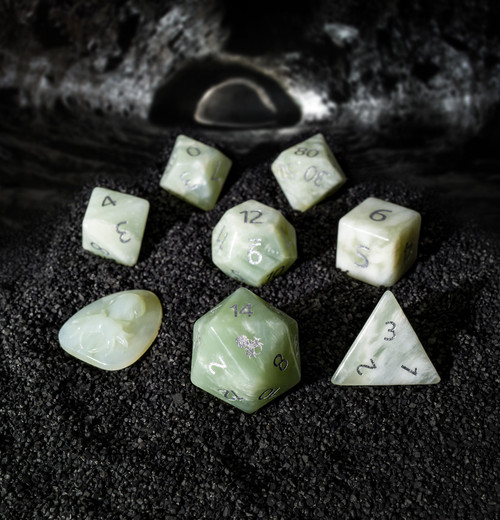 New Mountain Jade Semi-Precious 8 pc Glass Dice Set with Kraken Logo for RPGs