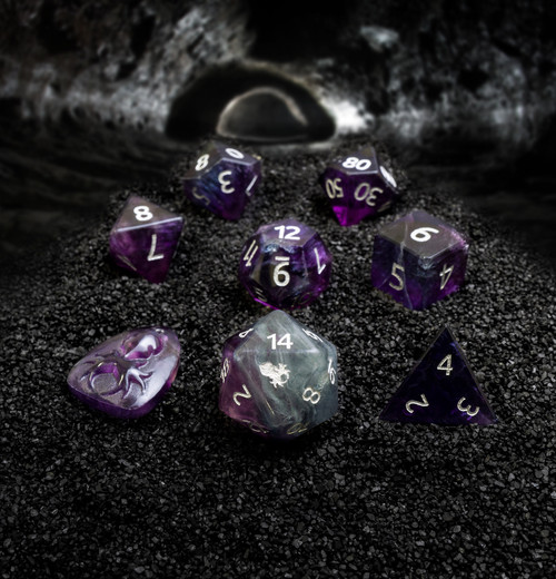 Natural Fluorite Semi-Precious 8 pc Glass Dice Set with Kraken Logo for RPGs