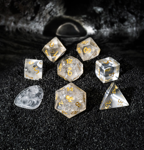 Clear Quartz Semi-Precious 8 pc Glass Dice Set with Kraken Logo for RPGs