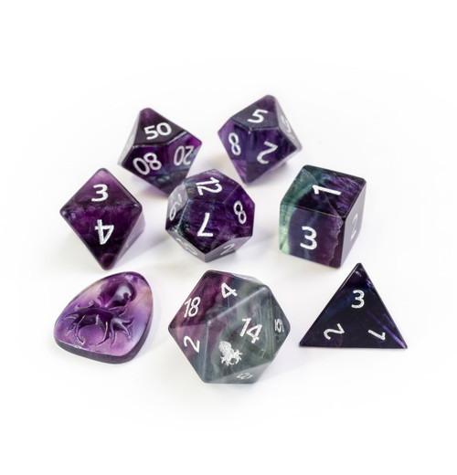 Rainbow Fluorite Semi-Precious 8 pc Glass Dice Set with Kraken Logo for RPGs