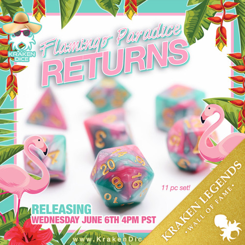 Flamingo Paradice  RPG 11pc Dice Set In Pink & Teal Blue