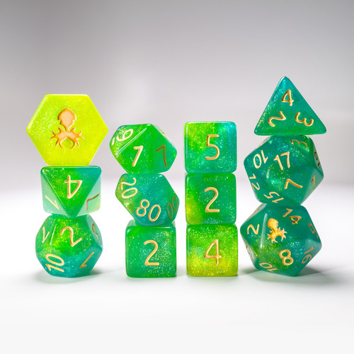 Fern 12pc Glimmer RPG Dice Set with Gold Ink