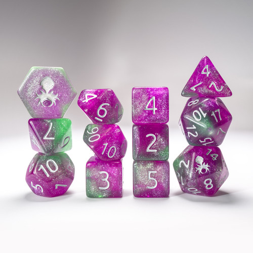 Poison Ivy 12pc  Glimmer RPG Dice Set with Silver Ink