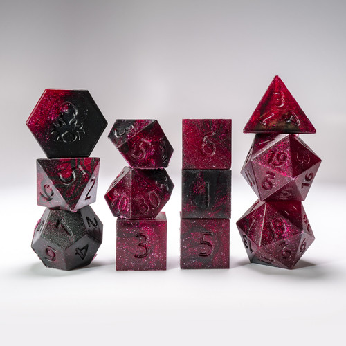 RAW Crimson Midnight 12pc Glimmer RPG Dice Set