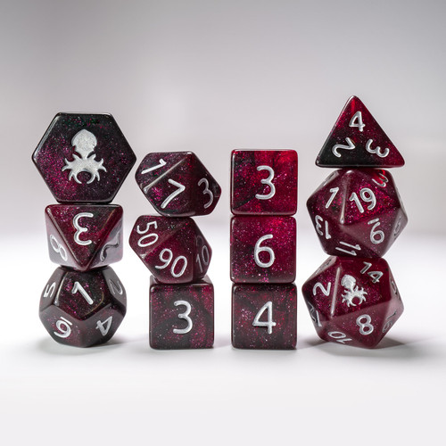 Crimson Midnight  12pc  Glimmer RPG Dice Set with Silver Ink