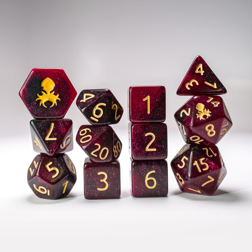 Crimson Midnight 12pc Glimmer RPG Dice Set with Gold Ink